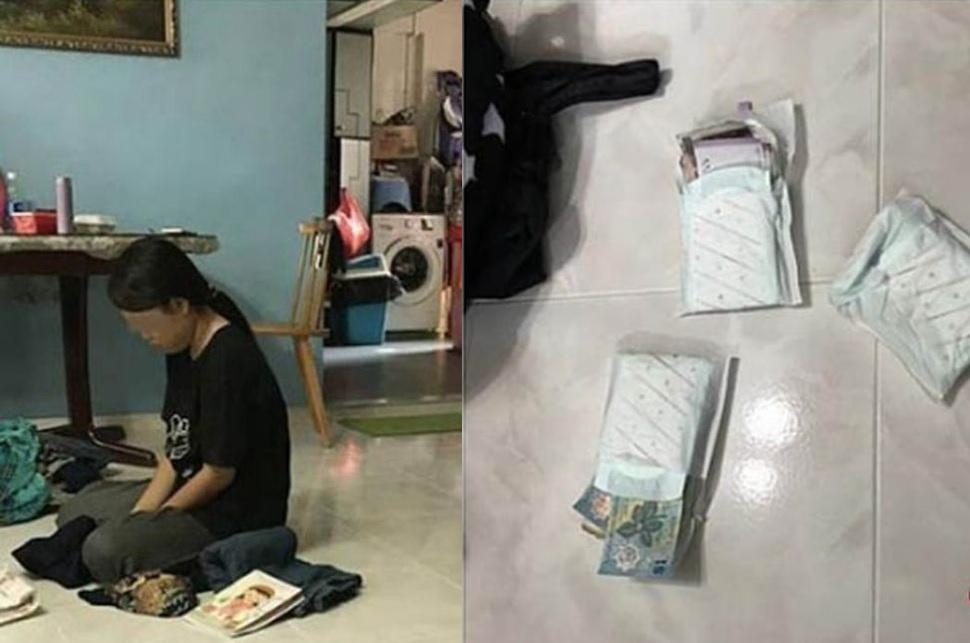 女傭坐在地上,一疊疊不同國家的鈔票鈔票則被發現塞入三片衞生巾中。