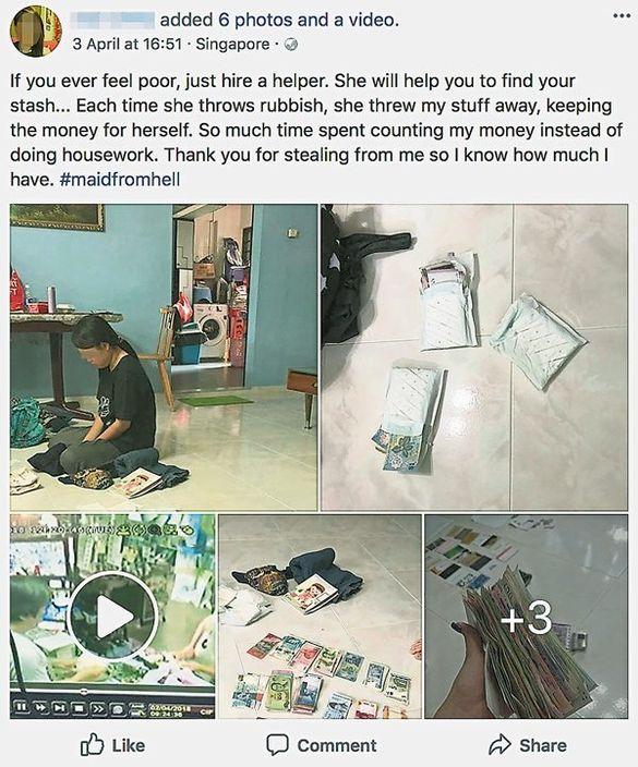 女僱主發帖狠批女傭在清理垃圾時,趁機偷去家中各國的貨幣。