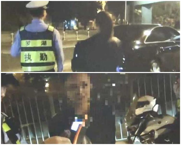 交警對「撒嬌的女人」完全沒有反應,嚴詞要求她「吹波仔」。網圖