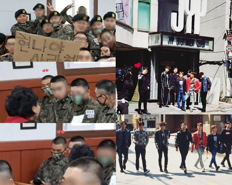 大聲的照片雖不太清楚,但粉絲終於能見到他新兵照始終感動;勝利同iKON於JYP大樓外拍攝。