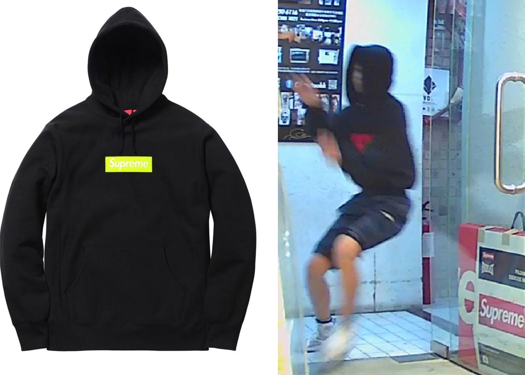 被偷的Supreme Box Logo Hoodie(左)、涉事少年(右)。