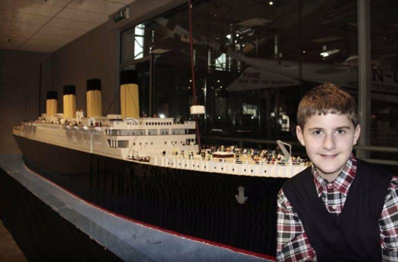 冰島10歲自閉症童砌出全球最大鐵達尼號模型。網上圖片