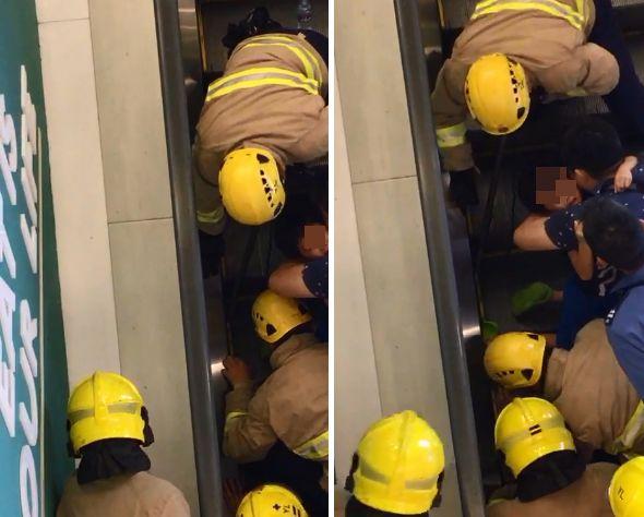 消防到場救出男童。讀者提供