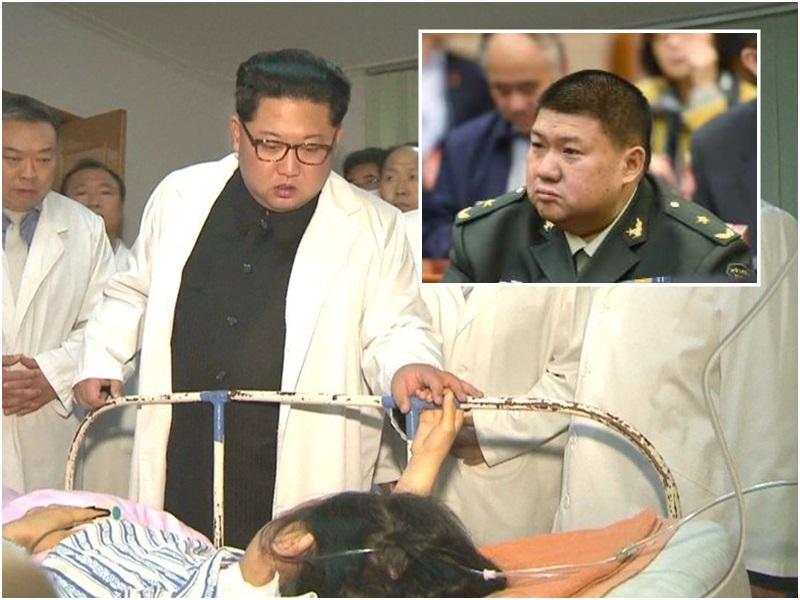 北韓領導人金正恩日前探望車禍傷者。(小圖為毛新宇)資料圖片
