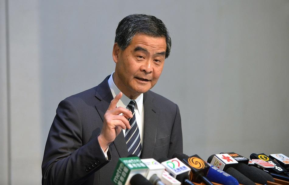 梁振英批評社論把香港人在感情和生活上和大灣區切割,和整個內地切割。資料圖片