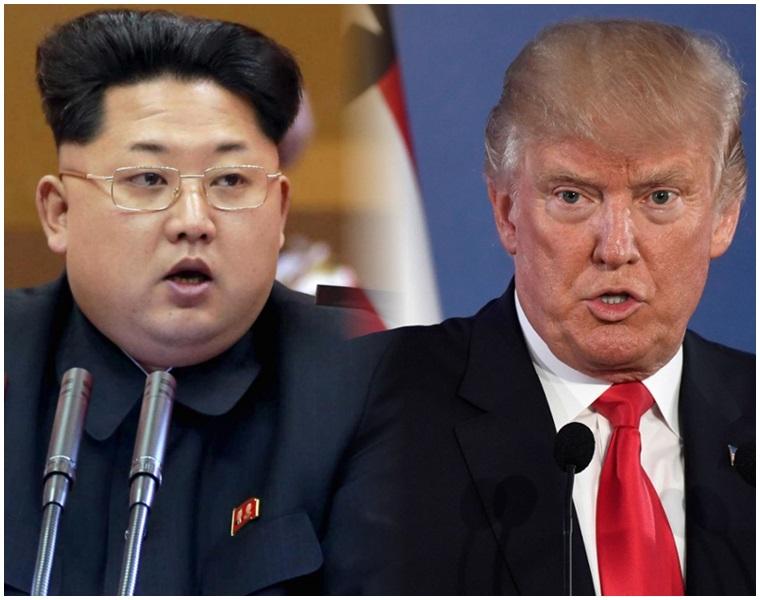金正恩(左)突取消兩韓高層會談,威脅取消美朝峰會。資料圖片