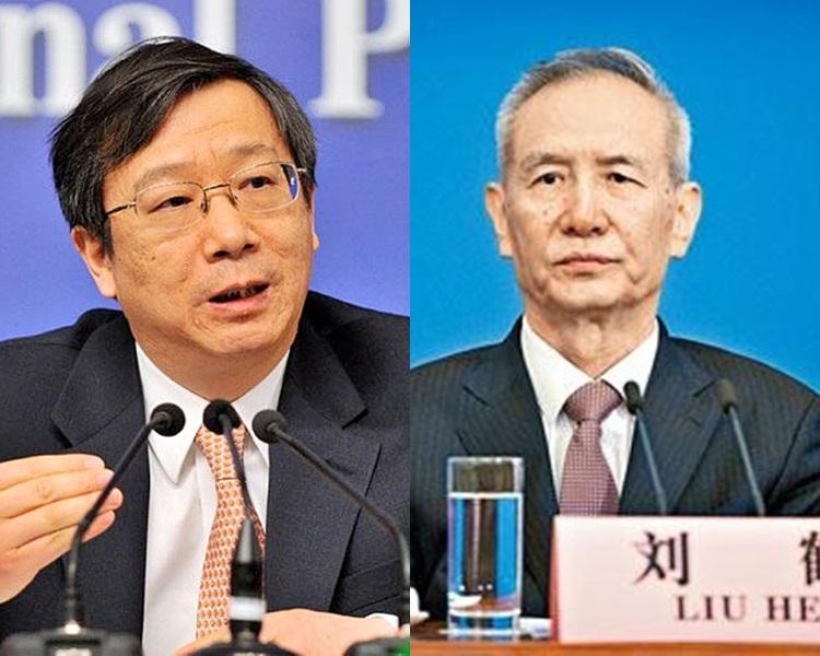 左:易綱、劉鶴。資料圖片