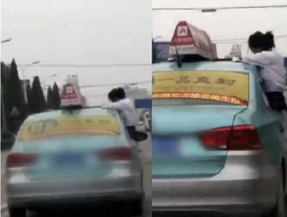 河南一名女學生在的士行駛期間,將上身探出車窗外,將車門當椅子,趴在車頂做功課。影片截圖