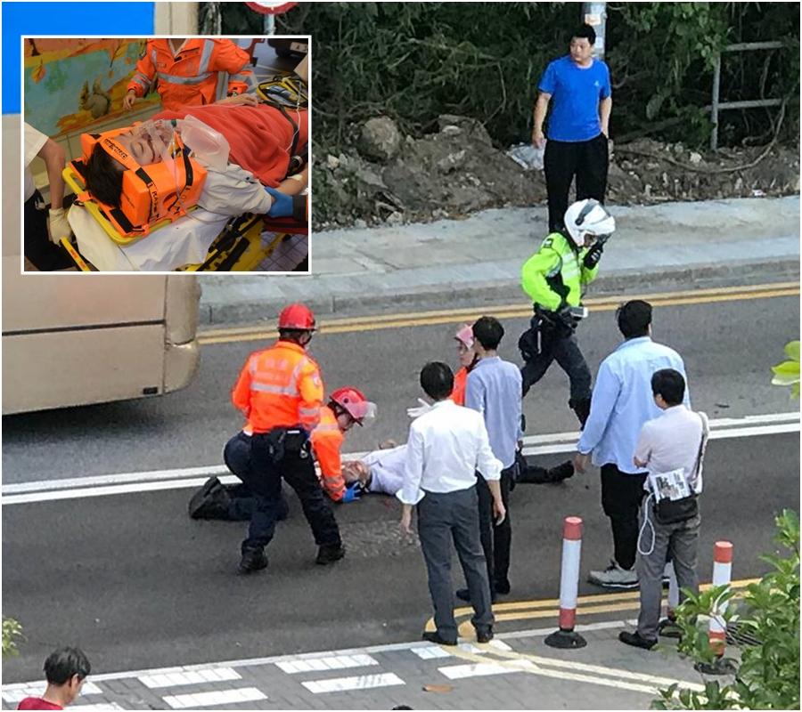 清水灣道意外傷者送院。小圖:黃文威攝//網民James Bobo Pang圖片