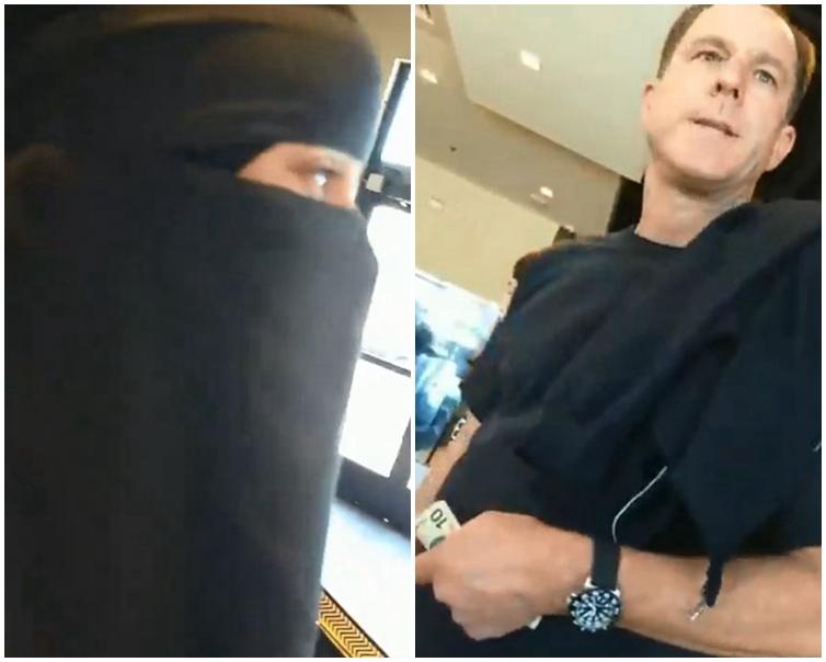 白人男子(右)不斷辱罵身邊的一名穆斯林女士(左)。片段截圖