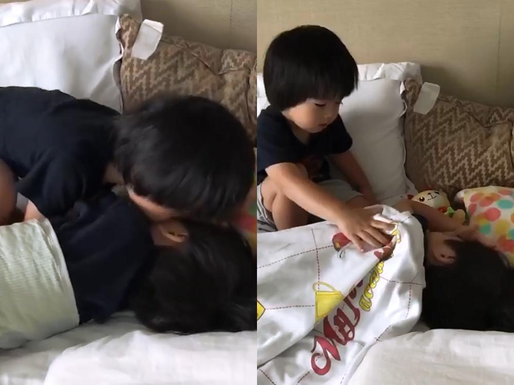 Kyson為哥哥送吻兼蓋被,非常乖巧!