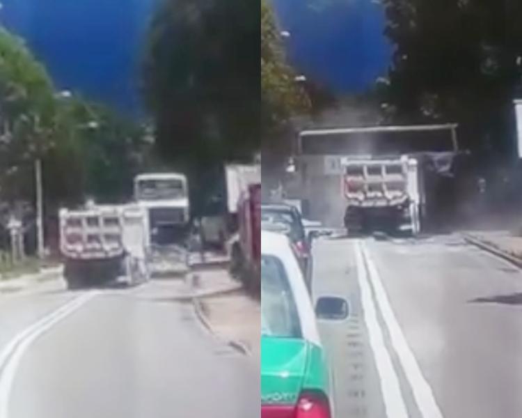 泥頭車轉彎後慢慢向右駛去,後直撞對面線的巴士。facebook