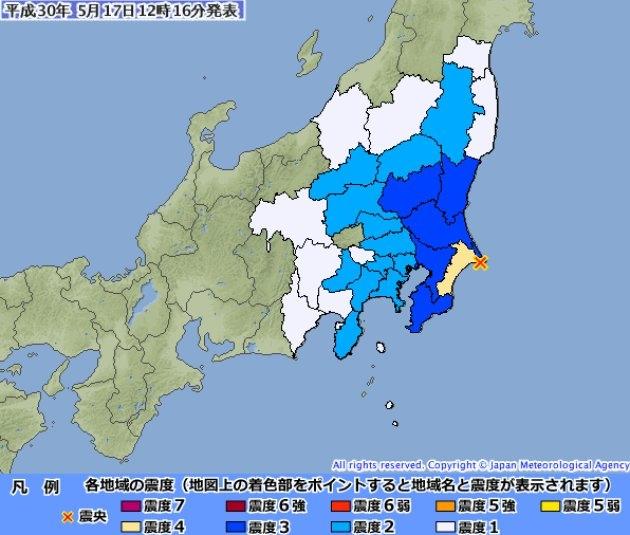 日本千葉縣東北部今晨發生地震。(網圖)