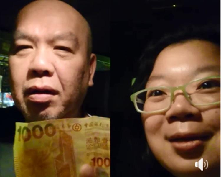 乘客1000元當100元付錢,的哥「唔偷食」親自歸還獲激讚。Angel Hsu圖片