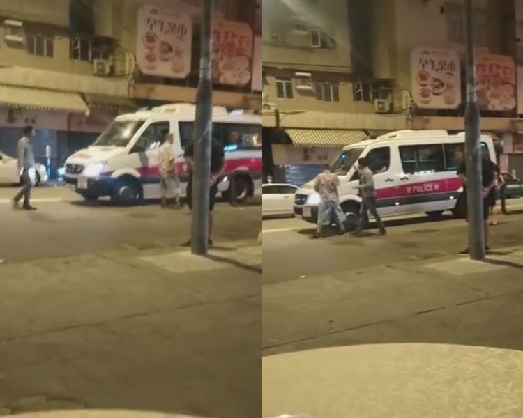 網上流傳元朗男子拍打警車片段。網上圖片