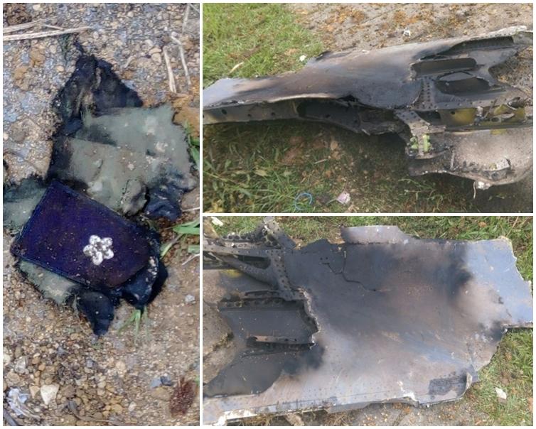 行人客發現懷疑戰機殘骸(右上、右下)及機師臂章。網圖
