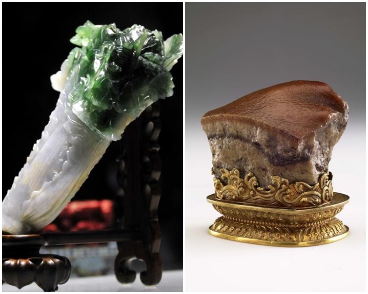 翠玉白菜(左)和肉形石(右)。台北故宮圖片