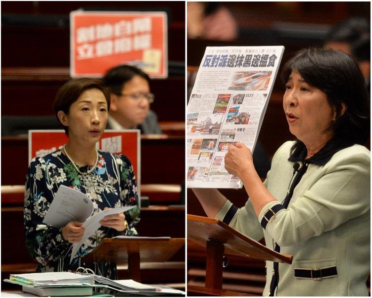 陳淑莊提出的中止待續議案,遭建制派反對下被否決。