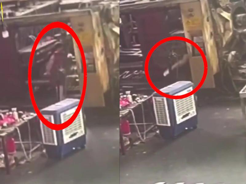 一名女工在跨入一台機器時,突然機器啟動,活活給壓死。(網圖)