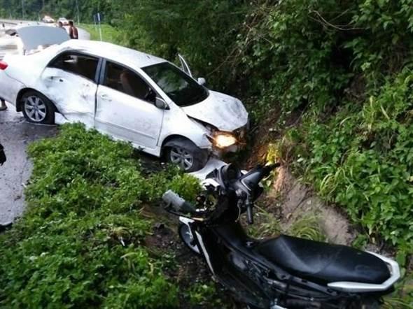 香港男子在泰國北部與内地女友駕駛電單車期間遇上車禍死亡。網上圖片