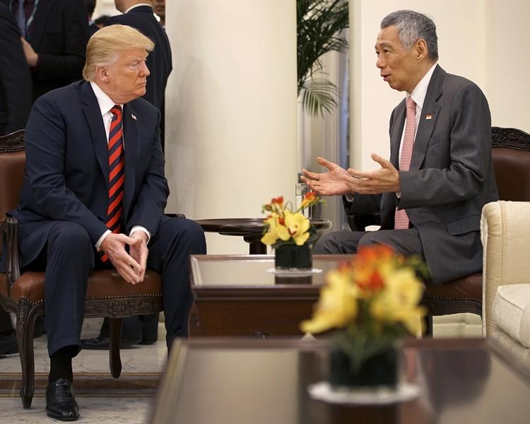 新加坡總理李顯龍前日和昨日已先後會見金正恩和特朗普。資料圖片