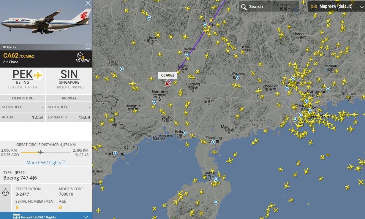 中國國際航空公司客機前往新加坡。網站圖片