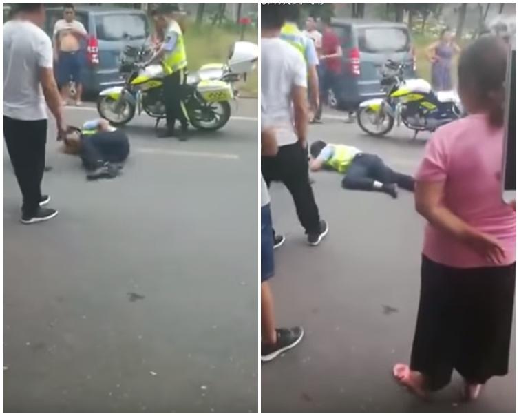 警員痛得在地上打滾、瘋狂慘叫,隨後躺在地上昏了過去。網圖