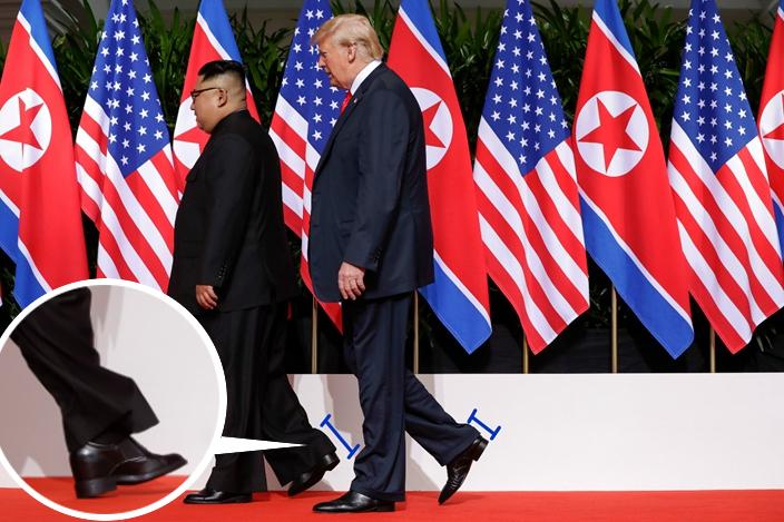 南韓傳媒估計,金正恩穿了增高鞋墊,令他與特朗普站在一起時,不輸氣勢。