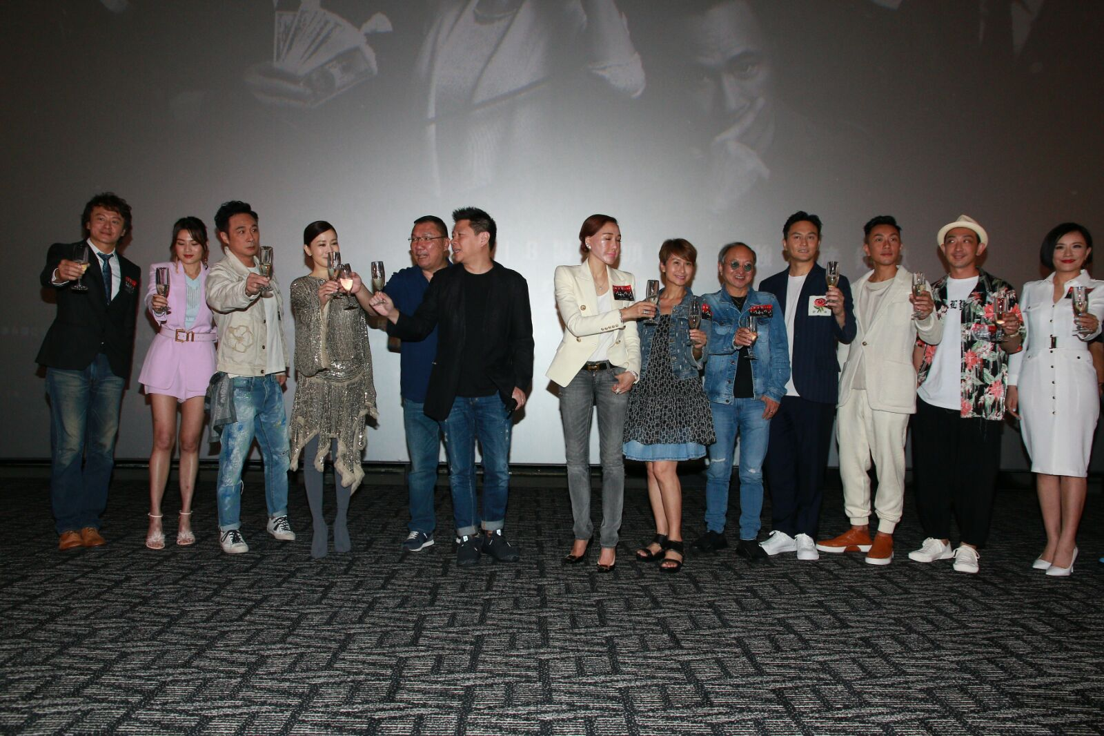 張智霖(Chi Lam)、佘詩曼(阿佘)及吳鎮宇等出席《洩密者們》首映禮。