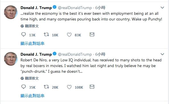 結束特金會後,特朗普在Twitter發文反擊羅拔迪尼指他是一位「IQ非常低的人」。(網圖)
