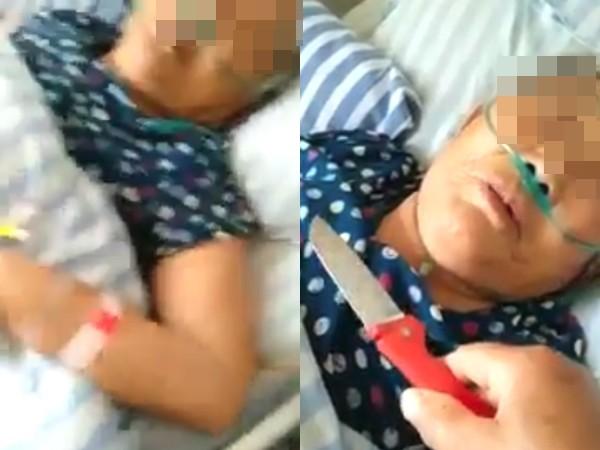 內地一名女子用生果刀收病母頸上,質問她有多少存款。網上圖片