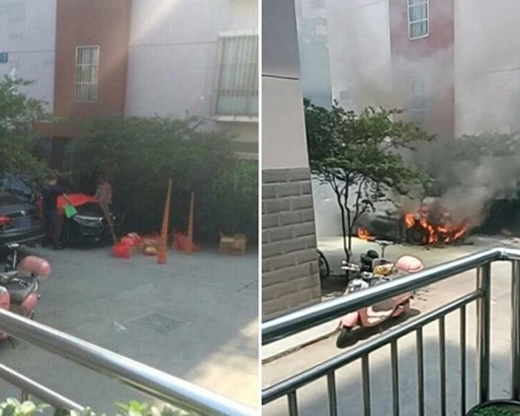 逾60萬港元新車燒剩骨架。網上圖片