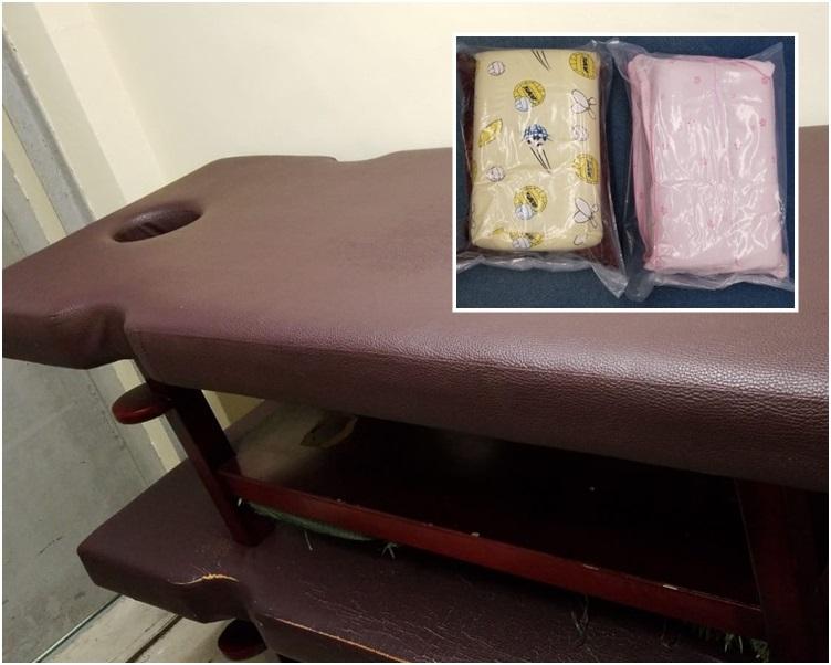 警員在行動中檢獲一批證物,包括按摩椅、按摩油及毛巾等。