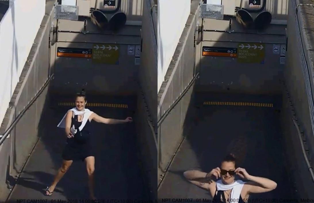 警方前日發布一段閉路電視畫面,可見一名女子從地鐵站步出時腳步輕鬆,慢慢戴上太陽眼鏡,看似非常愉快。