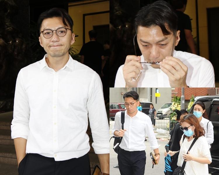 袁偉豪與母親及女友張寶兒抵達殯儀館。