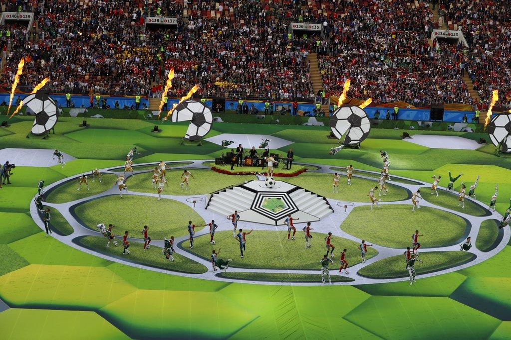 世界盃開幕禮上演。AP圖片