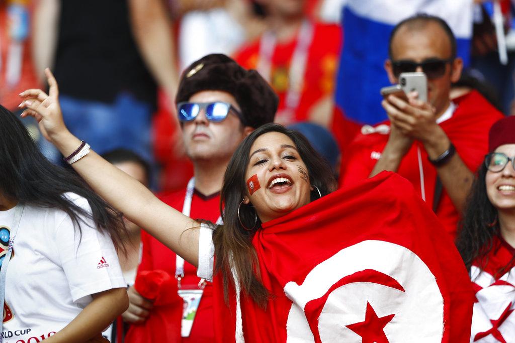 突尼西亚球迷支持国家队。AP图片