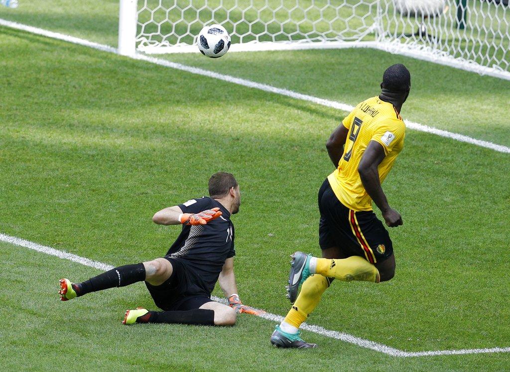 比利时卢卡古今届世界盃已经射入4球。AP图片