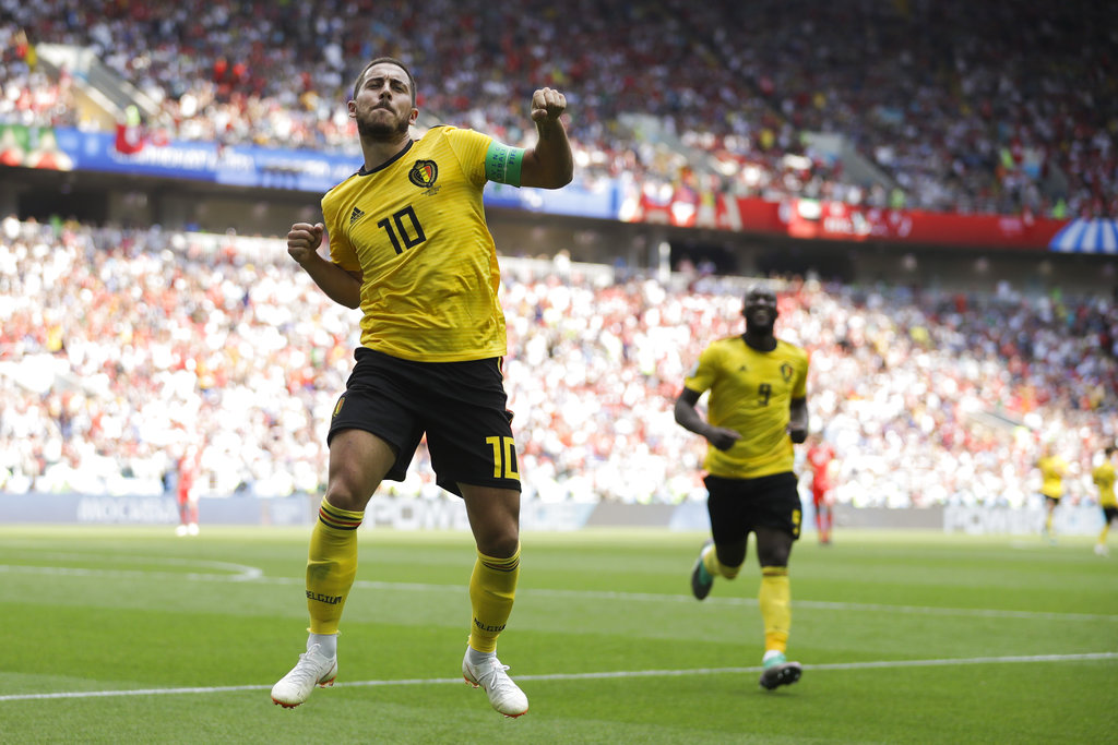 夏萨特庆祝比利时第四个入球。AP图片