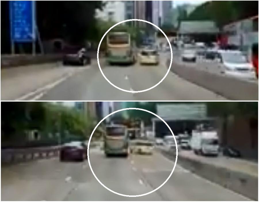 旅遊巴稍為靠近快線,私家車司機扭軚閃避。網上圖片
