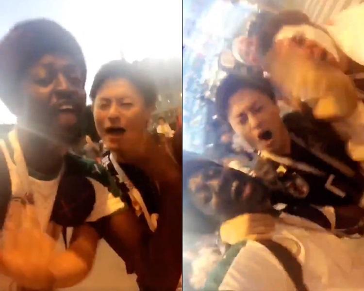 日本和塞内加尔球迷赛后合唱着名动漫《海贼王》的歌曲。影片截图
