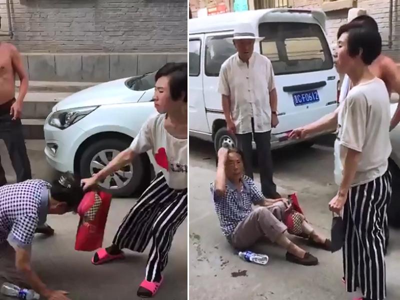山西王姓女子當街毆打母親並扯其頭髮拖行。(網圖)