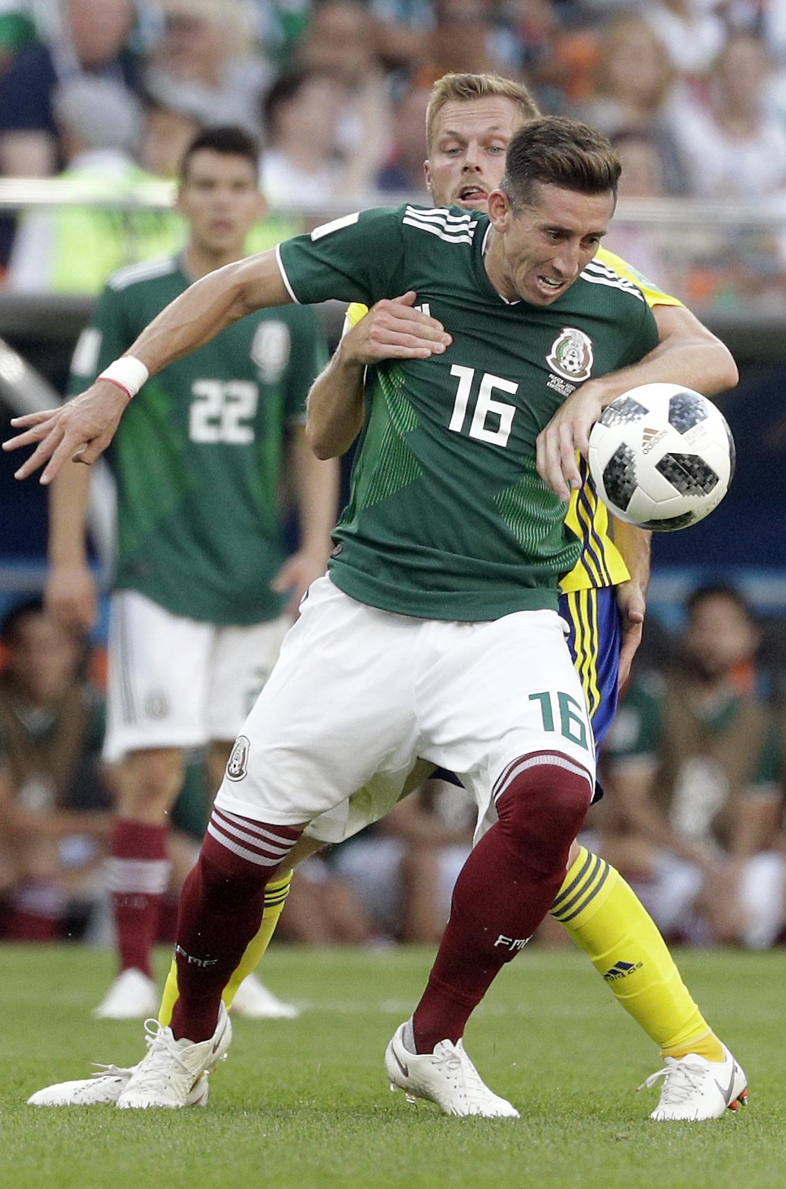墨西哥惨败0:3仍有运晋级。AP