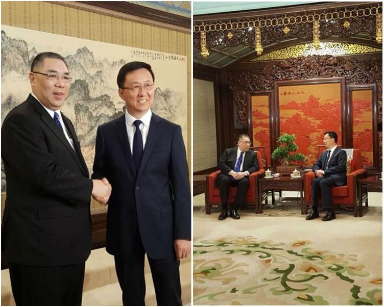 崔世安(左)感謝韓正長期以來對澳門的關注、支持和幫助。網圖