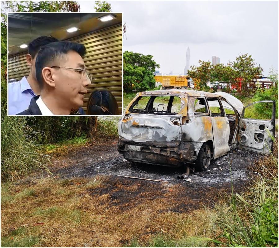 警方在米埔發現燒車