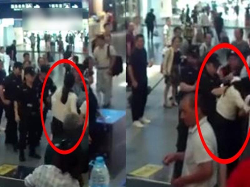 馬女遲到未拿車票還硬闖安檢,被警員阻擋後,更情緒失控咬向警員手臂。(網圖)
