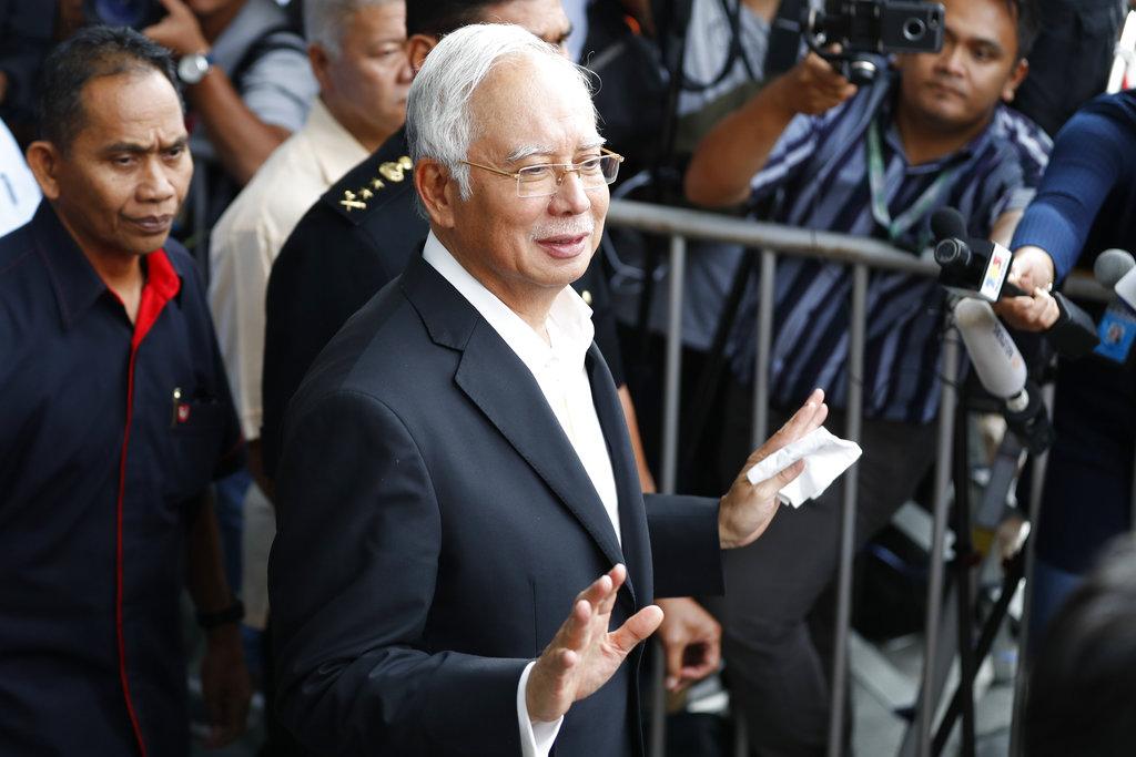 馬來西亞前總理納吉布涉嫌貪腐被捕。AP圖片