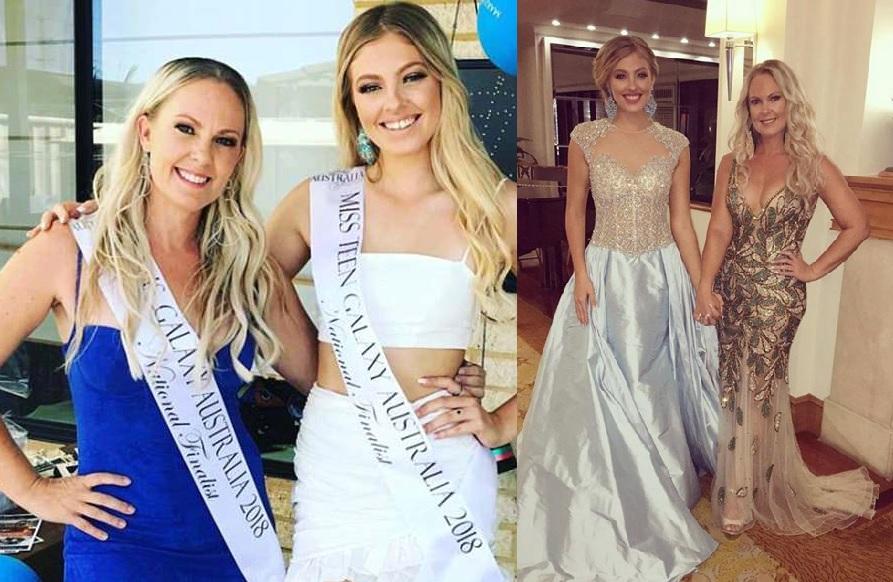 41歲母親羅伯特(藍裙者)陪同女兒史賓利參加選美,結果贏得冠軍。