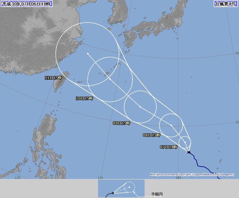 日本氣象廳預測瑪莉亞會以接近200公里時速風力,正面吹襲沖繩。