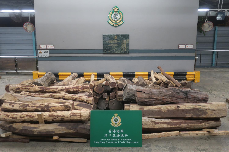 檢獲的懷疑交趾黃檀木材,估計市值約130萬元。